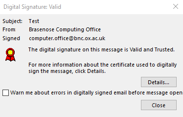 example of a valid digital signature in Outlook 2019