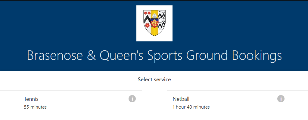 Activity selection screen for booking tennis and netball
