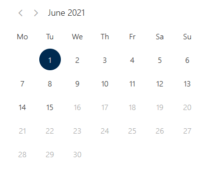 View of date picker on booking form