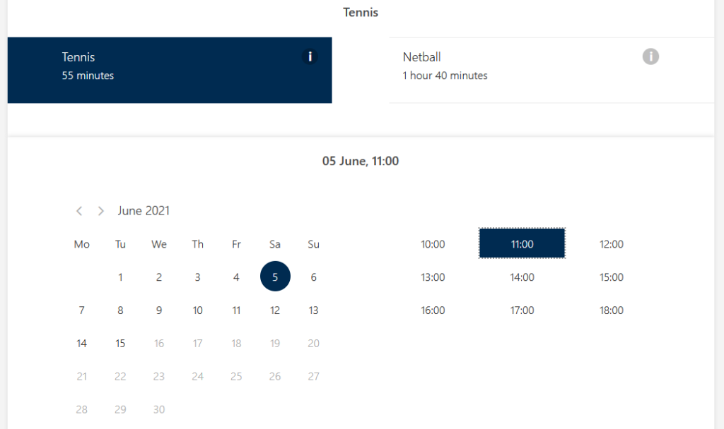 View of date and time selection for booking