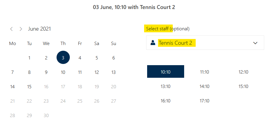View of court selection when booking netball