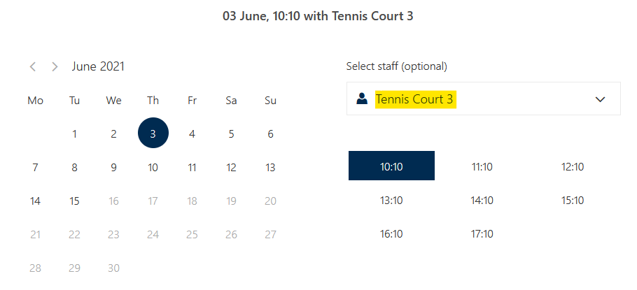 View of 2nd court selection when booking netball. Both courts 2 & 3 must be booked for netball.
