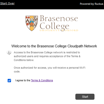 First page of the Brasenose network onboarding process