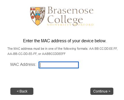 MAC Address submission form
