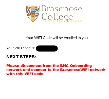 Wifi code success page